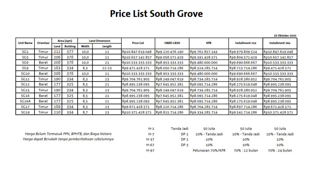 pricelist_southgroove